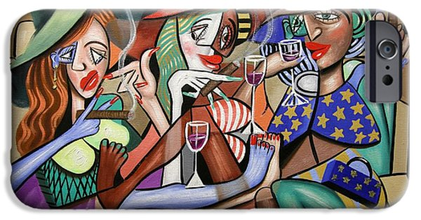 Cubist iPhone Cases - Girls Night Out iPhone Case by Anthony Falbo