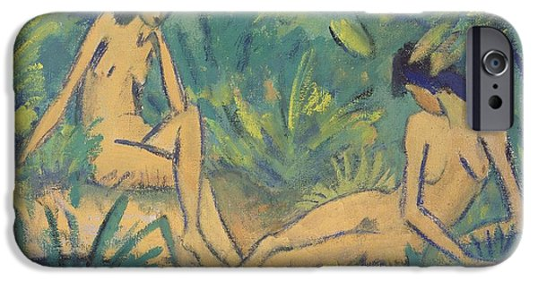 Bathers iPhone Cases - Girls Sitting By The Water iPhone Case by Otto Muller or Mueller