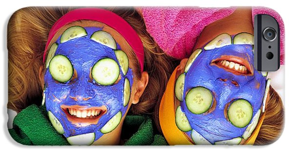 Women Together iPhone Cases - Girls With Cucumber And Face Mask iPhone Case by Ron Nickel