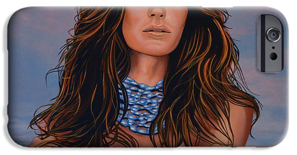 Football Paintings iPhone Cases - Gisele Bundchen iPhone Case by Paul  Meijering