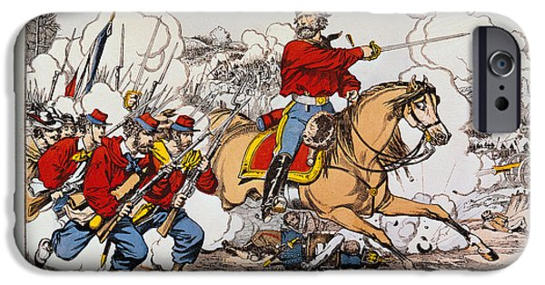 Bayonet iPhone Cases - Giuseppe Garibaldi 1807-82 And His Volunteers Fighting The Prussians Coloured Engraving iPhone Case by French School