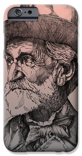 Sepia Ink Drawings iPhone Cases - Giuseppe Verdi iPhone Case by Derrick Higgins