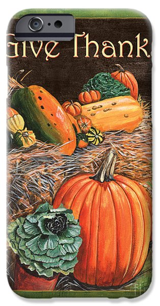 Gourd iPhone Cases - Give Thanks iPhone Case by Debbie DeWitt