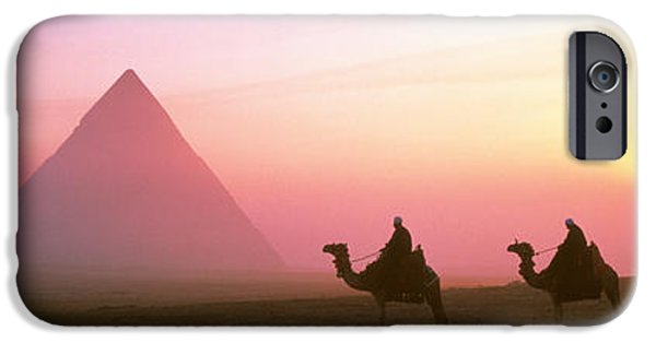 Camel Photographs iPhone Cases - Giza Pyramids Egypt iPhone Case by Panoramic Images