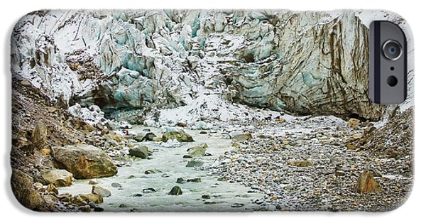 Snow Pyrography iPhone Cases - Glacier and river in mountain iPhone Case by Raimond Klavins