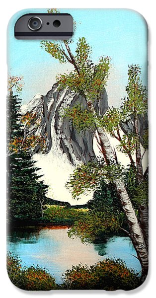 Glacier Peak after Bob Ross iPhone Case by Barbara Griffin