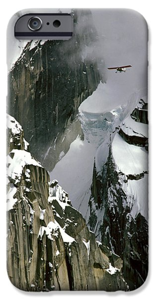 Mooses Tooth iPhone Cases - Glacier Pilot & Plane In Ak Range iPhone Case by Jeff Schultz