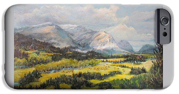 Park Scene Paintings iPhone Cases - Glacier Splendor iPhone Case by Donna Tucker