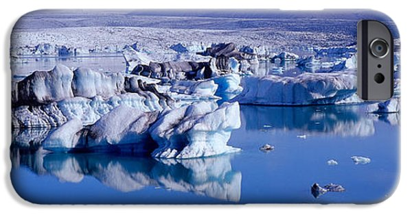 Reflections In River iPhone Cases - Glaciers Floating On Water, Jokulsa iPhone Case by Panoramic Images