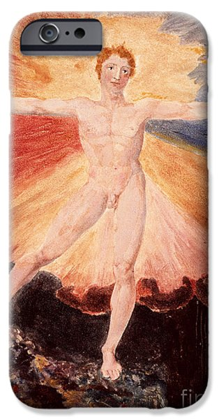 William Blake Drawings iPhone Cases - Glad Day or The Dance of Albion iPhone Case by William Blake