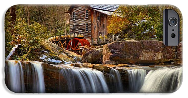 Grist Mill iPhone Cases - Glade Creek Cascades iPhone Case by Adam Jewell