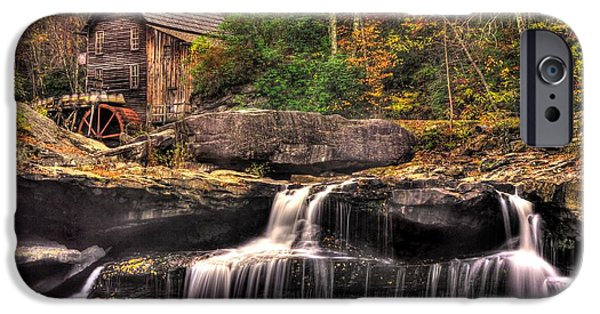 Grist Mill iPhone Cases - Glade Creek Grist Mill 1A - Autumn Late Afternoon Babcock State Park WV iPhone Case by Michael Mazaika