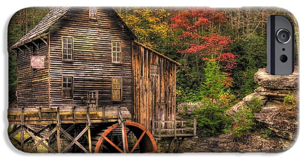 Grist Mill iPhone Cases - Glade Creek Grist Mill-1A Babcock State Park WV Autumn Late Afternoon iPhone Case by Michael Mazaika