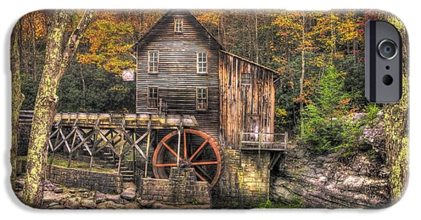 Grist Mill iPhone Cases - Glade Creek Grist Mill-3A Babcock State Park WV Autumn Late Afternoon iPhone Case by Michael Mazaika