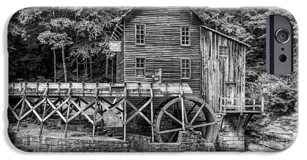 Grist Mill iPhone Cases - Glade Creek Grist Mill bw iPhone Case by Steve Harrington