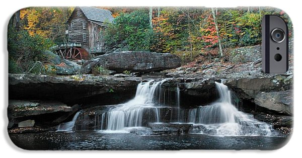 Creek Pyrography iPhone Cases - Glade Creek Grist Mill Falls iPhone Case by Daniel Behm
