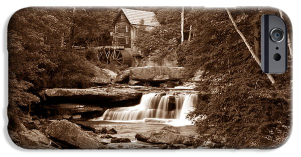 Mill iPhone Cases - Glade Creek Mill in Sepia iPhone Case by Tom Mc Nemar