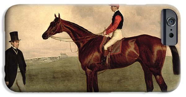 Pursuit iPhone Cases - Gladiateur with Harry Grimshaw Up and His Owner Count Frederic de Lagrange iPhone Case by Harry Hall