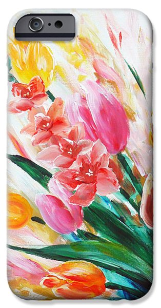 Floral Sculptures iPhone Cases - Gladiola 1 left iPhone Case by Marguerite Ujvary Taxner