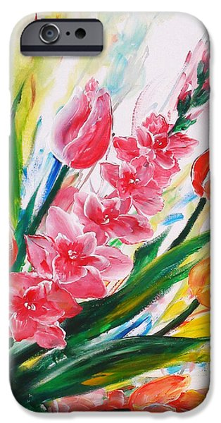 Floral Sculptures iPhone Cases - Gladiola 2 right iPhone Case by Marguerite Ujvary Taxner