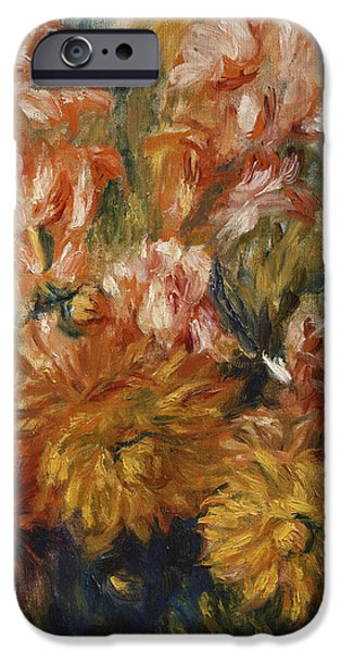 Gladioli iPhone Cases - Gladioli in a Blue Vase iPhone Case by Pierre Auguste Renoir