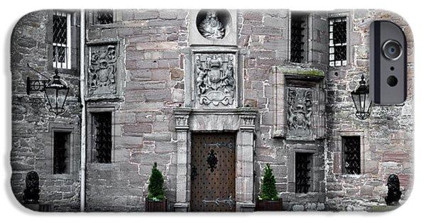 Queen Elizabeth iPhone Cases - Glamis Castle. Doorway iPhone Case by RicardMN Photography