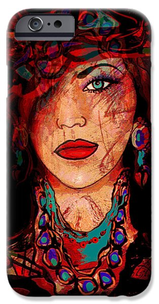 Self-portrait Mixed Media iPhone Cases - Glamor iPhone Case by Natalie Holland