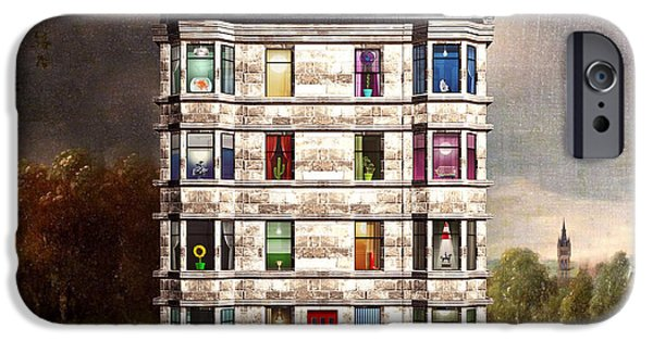 Buildings Mixed Media iPhone Cases - Glasgow Tenements iPhone Case by Michael  Murray