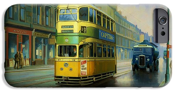 Rainy Day iPhone Cases - Glasgow tram. iPhone Case by Mike  Jeffries