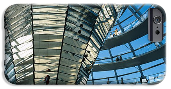 Berlin Germany iPhone Cases - Glass Dome Reichstag Berlin Germany iPhone Case by Panoramic Images