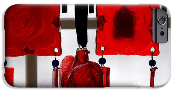 Shape Glass iPhone Cases - Glass heart and roses iPhone Case by FL collection