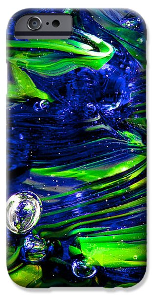 Abstract Digital Art iPhone Cases - Glass Macro Seattle Seahawks Wave iPhone Case by David Patterson