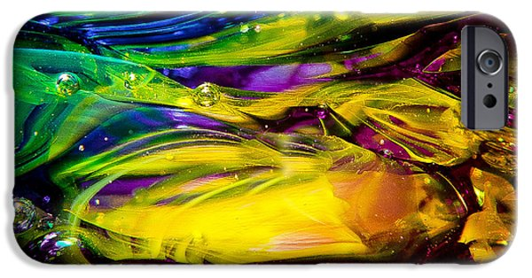 Glass Reflections iPhone Cases - Glass Macro Abstract RCY1 iPhone Case by David Patterson