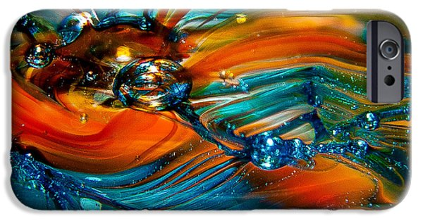 Glass Reflections iPhone Cases - Glass Macro Abstract RTO iPhone Case by David Patterson