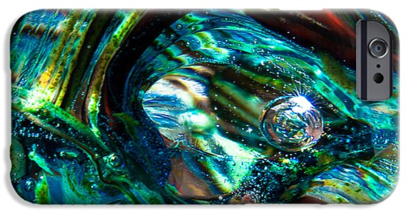 Glass Reflections iPhone Cases - Glass Macro - Blue Green Swirls iPhone Case by David Patterson