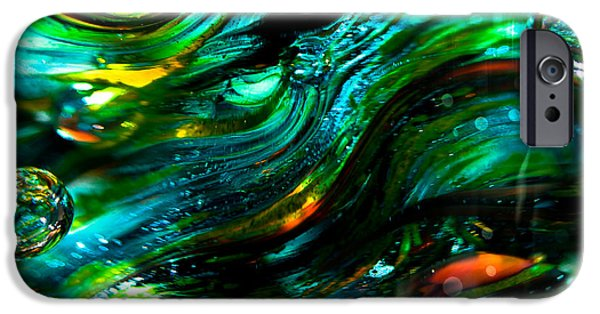 Glass Reflections iPhone Cases - Glass Macro - Greens and Blues iPhone Case by David Patterson