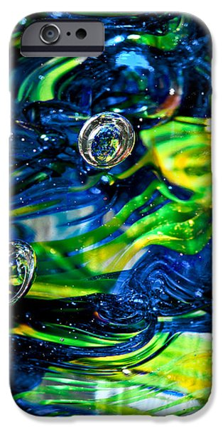 Glass Reflections iPhone Cases - Glass Macro - Seahawks Blue and Green -13E4 iPhone Case by David Patterson