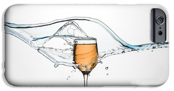 Lemon Drops iPhone Cases - Glass of White Wine with splash. iPhone Case by Andy Astbury