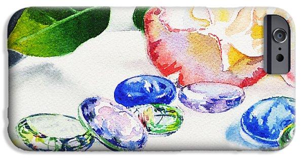 Green Roses iPhone Cases - Glass Rocks iPhone Case by Irina Sztukowski