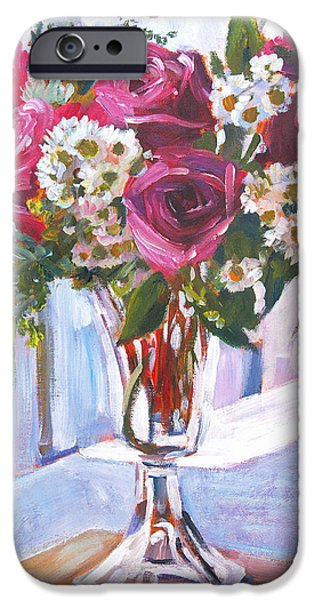 Still Life iPhone Cases - Glass Roses iPhone Case by David Lloyd Glover