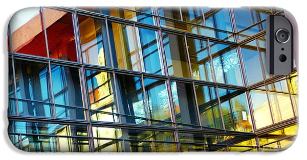 Facade iPhone Cases - Glass Windows Background iPhone Case by Carlos Caetano