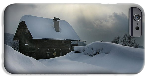 Snowy Day iPhone Cases - Gleam of Light iPhone Case by Martina  Rathgens