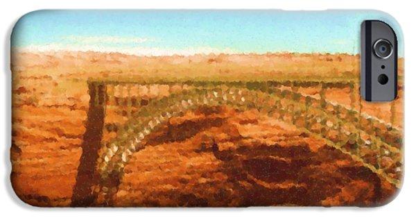 Asbjorn Lonvig Digital iPhone Cases - Glen Canyon Bridge in Page Arizona Painting iPhone Case by Asbjorn Lonvig