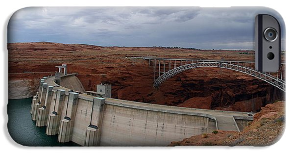 Built Structure iPhone Cases - Glen Canyon Dam and Bridge iPhone Case by Christiane Schulze Art And Photography