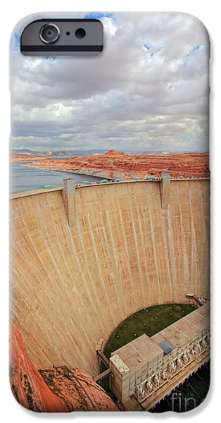 Lake Powell iPhone Cases - Glen Canyon Dam iPhone Case by Inge Johnsson