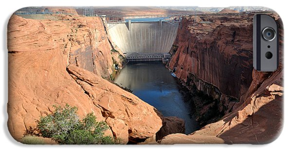 Glen Canyon iPhone Cases - Glen Canyon Dam on the Colorado River iPhone Case by Gary Whitton