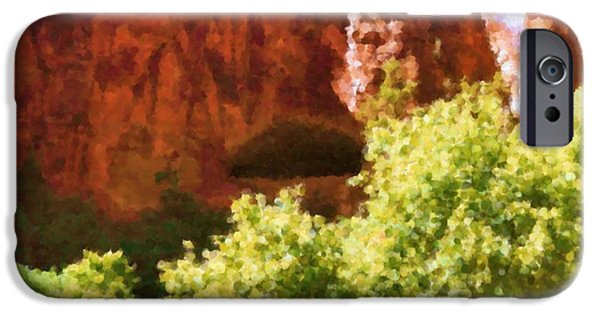 Asbjorn Lonvig Digital iPhone Cases - Glen Canyon leaves and rocks Painting iPhone Case by Asbjorn Lonvig