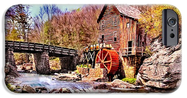 Grist Mill iPhone Cases - Glen Creek Grist Mill Painting iPhone Case by  Bob and Nadine Johnston