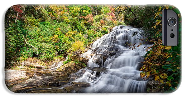 Carolina iPhone Cases - Glen Falls in North Carolina iPhone Case by Andres Leon
