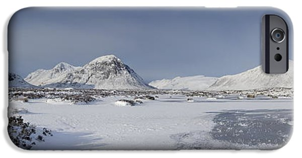 Highlands Digital iPhone Cases - Glencoe and Buchaille Etive Panoramic iPhone Case by Pat Speirs
